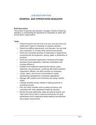 general and operations manager job description service director job description