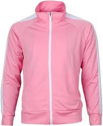 Lish Men S Slimming Light Compression Crew Neck Shirt Mens Retro Stripes Full Zip Up Track Top Jacket Pink 1