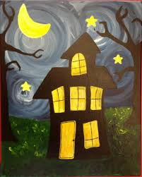 this painting features bright fun swirls and a funky y haunted house perfect