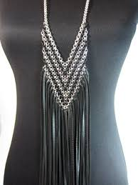 leather fringe necklace chainmaille chain mail by vacationhouse