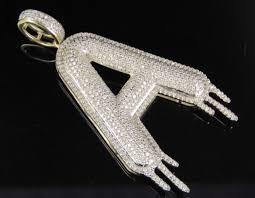 diamond letter a drip initial custom pendant charm 10k yellow gold 1 30 ct 2