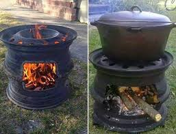 Diy portable fire pit Portable Propane Diy Fire Pit With Car Wheel Ideastand How To Diy Fire Pit For Your Backyard Ideas And Tutorials 2017
