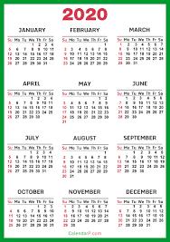 2020 calandars 2020 calendar printable free green sunday start