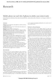 mobile phone use and risk of glioma in adults case control study  pdf extract preview