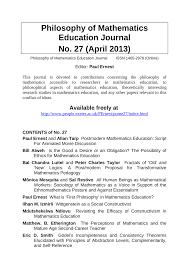 philosophy of mathematics education journal no
