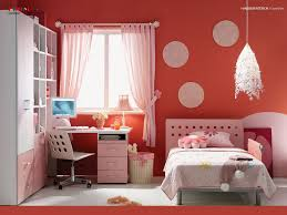 Bedroom Cute Red Pink Girls Room With Circles Perforated Bed