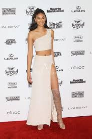 Chanel Iman Sexy Nude One Shoulder Two piece Slit Prom Dress.