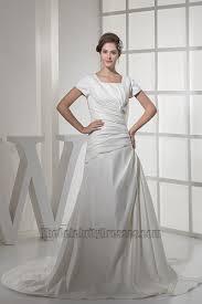 elegant short sleeves a line taffeta wedding dresses
