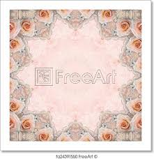 Free Art Print Of Beige Wedding Background With Roses Lace