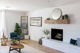 farmhouse fireplace decor unique family room accent wall with white painted brick wall and barn wood