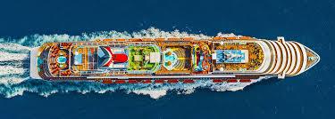 aerial view of carnival vista sailing out at sea