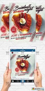 Baseball Brochure Template Baseball Night Flyer Template Instagram Size Flyer