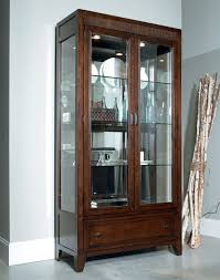 wondrous modern glass display cabinet with lights feat two side glass door with tiered