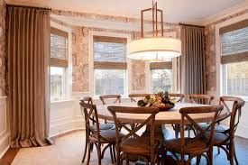 rustic round dining table. Rustic Round Dining Table Room Transitional With Bamboo Roman Shade Bay. Image By: Dietz Associates Inc