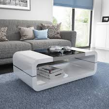 high gloss white curved coffee table with black glass top tiffany range