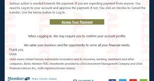 united services automobile association fraud fyi phishing alert phishing scam email from usaa safeguard2