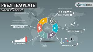 an infographic prezi template a round and colorful design a professional looking diagram prezi presentations suitable for a variety of presentation topics present business or company reports data