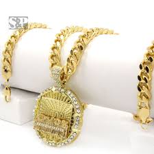 men iced out hip hop 14k gold plated last supper cz pendant 30 cuban link chain