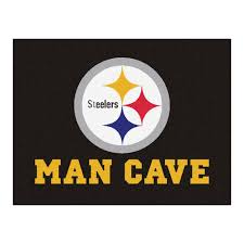 fanmats pittsburgh steelers black man cave 3 ft x 4 ft area rug