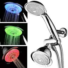 luminex by powerspa 7 color 24 setting led shower head combo with air jet led turbo pressure boost nozzle technology 7 vibrant led colors change
