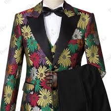 Wedding Court Design 2019 Complete Suits Wedding Mens Italian Suits And Pants For Men Luxury Court Design Yellow Floral Jacquard Groom Suit Terno From Zhinvstar 148 41