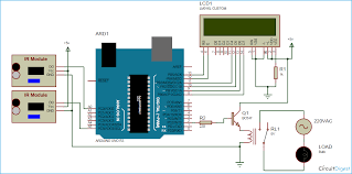 automatic room light controller bidirectional or counter or counter circuit diagram using arduino