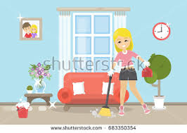 cleaning living room clipart. house cleaning illustration. living room clipart