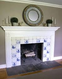 fireplace with blue and white delft tile surround glass ideas