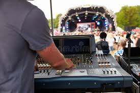 sound and lighting engineer at an outdoor festival concert stock ilration image 59880581