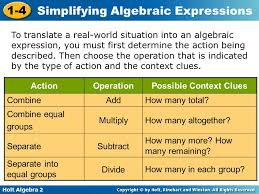 holt algebra 2 1 4 simplifying algebraic expressions to translate a real world situation