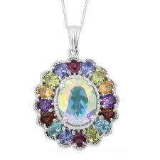 mercury mystic topaz multi gemstone platinum over sterling silver pendant with chain 20 in tgw 6 74 cts lc