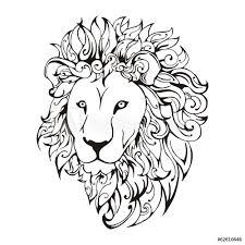 Fotografie Obraz Lion Head Tattoo Vector Posterscz