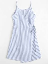 Wrap Dress Pattern Amazing 48 Cami Striped Wrap Dress In BLUE S ZAFUL