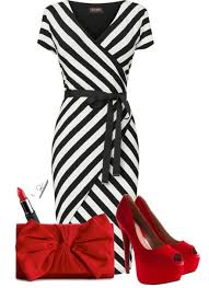 Black & White Wrap Dress with Red Accessories