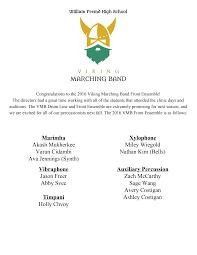 MARCHING BAND Marimba Akash Mukherkee Varun Cidambi Ava Jennings (Synth)  Xylophone Miley Wiegold Nathan Kim (