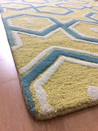 Exciting Handmade Wool Blue X Lt Area Rug in Yellow Area Rug