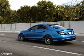 Matte Blue Mercedes Benz CLS550 on Velgen Wheels VMB5