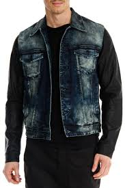 guess dillon leather sleeve denim jacket in blue and black