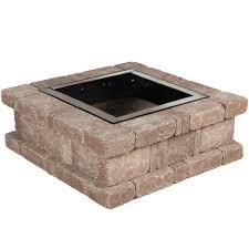 pavestone rumblestone 38 5 in x 14 in square concrete fire pit kit no
