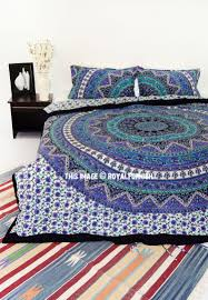 blue green kerala boho medallion bedding mandala duvet cover set with 2 pillow covers