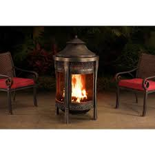 sunjoy brown 62 inch cast steel outdoor fireplace outdoo