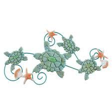 swimming sea turtles metal wall art