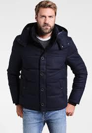 hooded winter jacket dark blue melange mens clothing jackets winter jackets pier one mottled