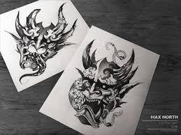 Oni арт эскизтату тату графика чб рисунок Art Tattooart