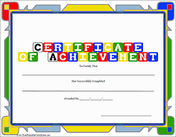 Printable Achievement Certificates Certificate Of Achievement Template Free Printable Cardiffbay Info
