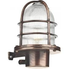 pier nautical design caged outdoor wall light in antique copper ip64