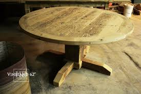 62 round pedestal table hand hewn beam base 2 reclaimed hemlock