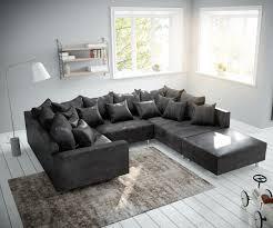 Couch Clovis Anthrazit Antik Optik Mit Hocker Und Armlehne