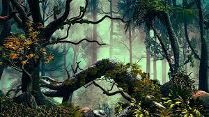 Wallpaper trees, palms, jungle, art ...