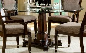round glass dining table wood base